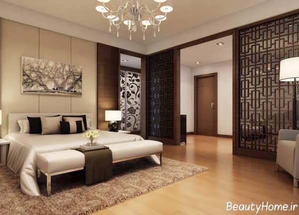 طراحی دکوراسیون اتاق خواب قهوه ای و شیک