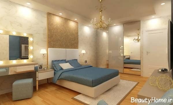 دکوراسیون اتاق خواب آبی و قهوه ای