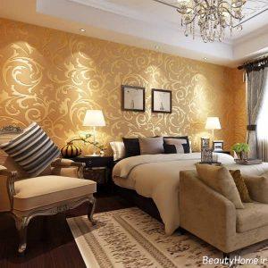 دکوراسیون داخلی طلایی و قهوه ای اتاق خواب