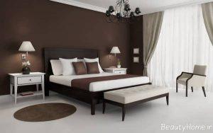 دکوراسیون اتاق خواب سفید و قهوه ای