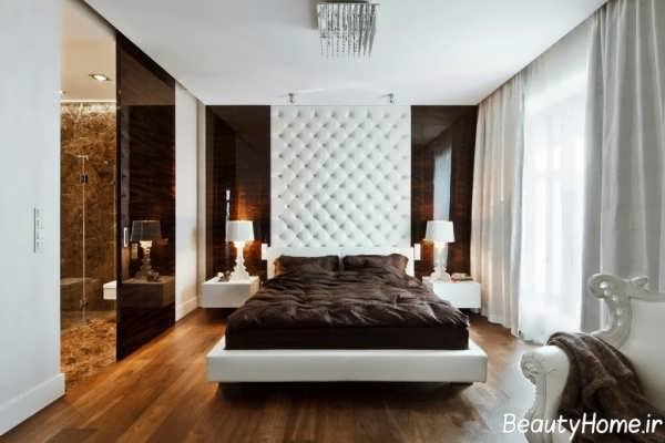 دکوراسیون سفید و قهوه ای اتاق خواب