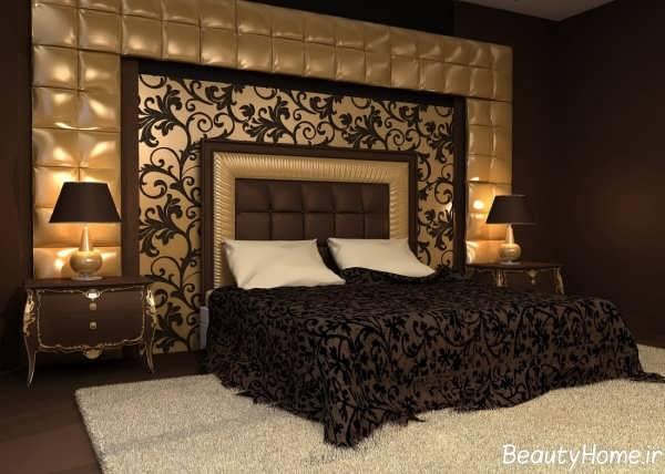 دکوراسیون اتاق خواب قهوه ای و طلایی