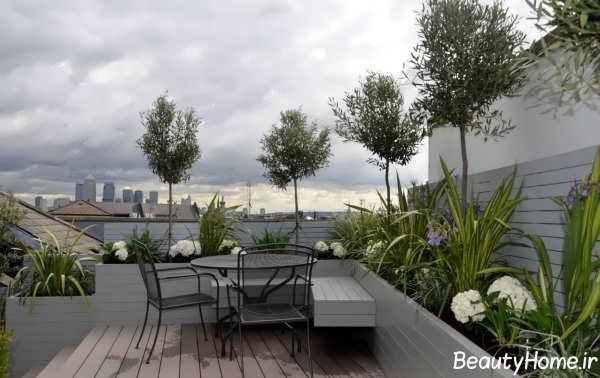 طراحی باغ بام شیک و زیبا