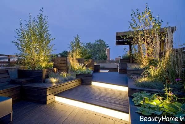 طراحی نورپردازی روف گاردن با کمک ایده های مدرن