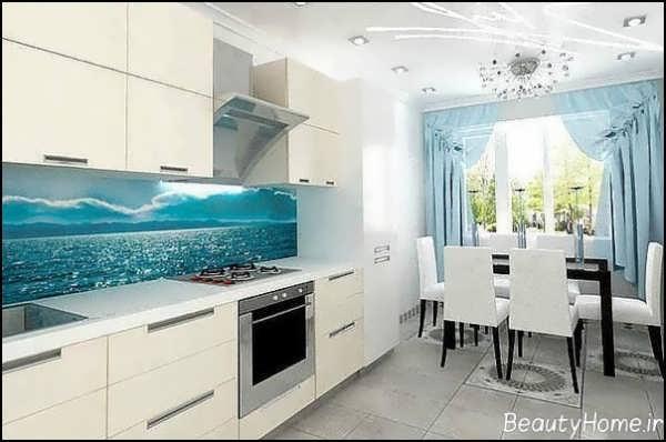 دکوراسیون سفید و آبی آشپزخانه