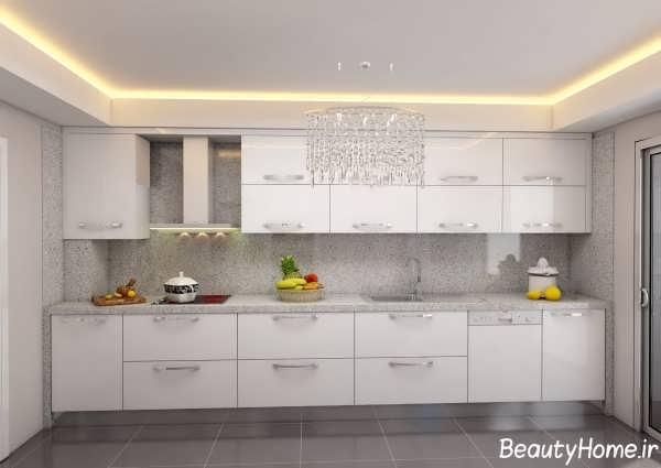 دکوراسیون سفید و خاکستری آشپزخانه ترکیه ای