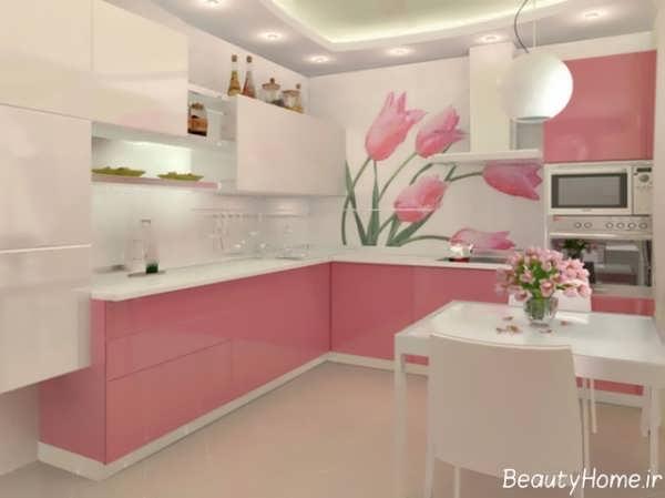 دکوراسیون سفید و صورتی آشپزخانه ترکیه ای