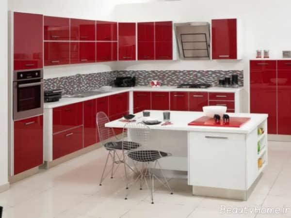 دکوراسیون قرمز و سفید آشپزخانه