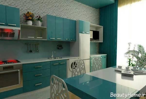 دکوراسیون سبز و مدرن آشپزخانه