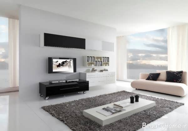 طراحی ساده و مدرن اتاق پذیرایی