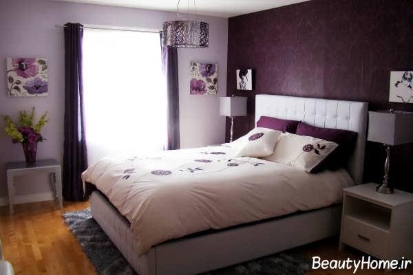 دکوراسیون سفید و بنفش اتاق خواب عروس