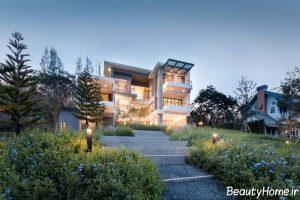 نمای زیبا و متفاوت ساختمان ویلایی