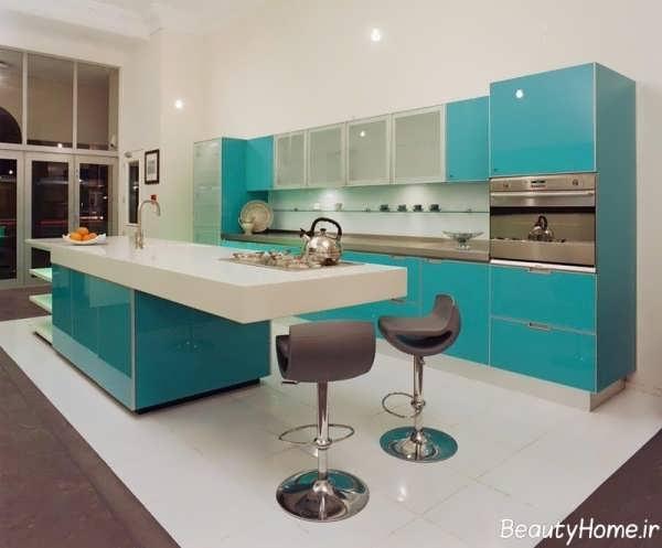 دکوراسیون فیروزه ای آشپزخانه