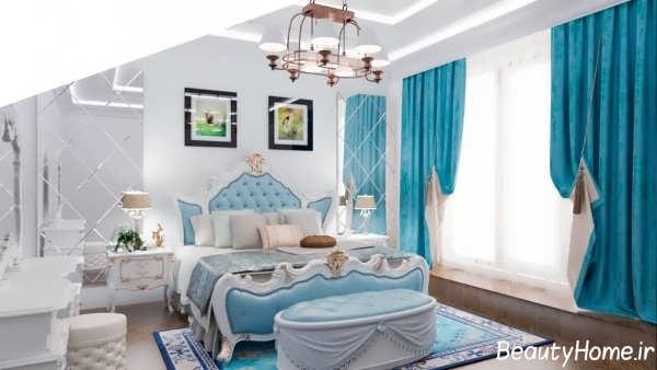 دکوراسیون اتاق خواب سفید و فیروزه ای