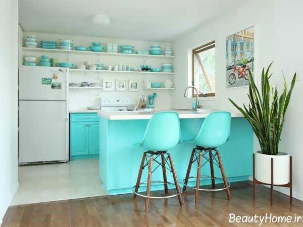 دکوراسیون فیروزه ای و سفید آشپزخانه