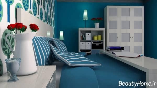 دکوراسیون داخلی اتاق خواب فیروزه ای