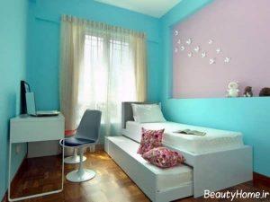 دکوراسیون سفید و فیروزه ای اتاق خواب