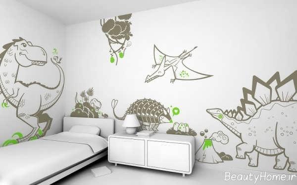 دکوراسیون سفید و قهوه ای اتاق کودک