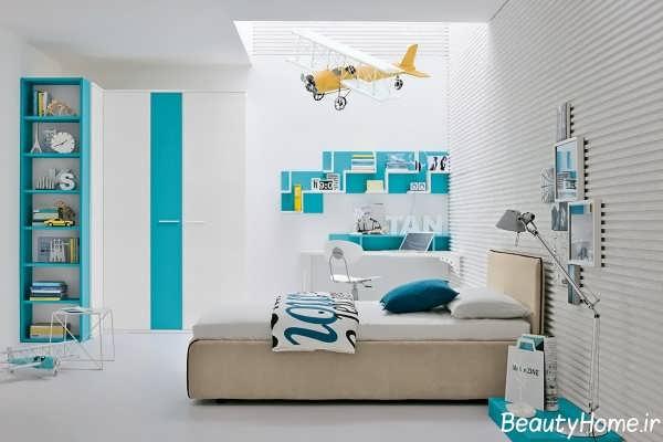دکوراسیون سفید و آبی اتاق کودک