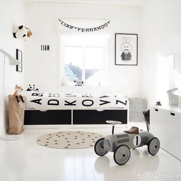 دکوراسیون سفید و سیاه اتاق کودک