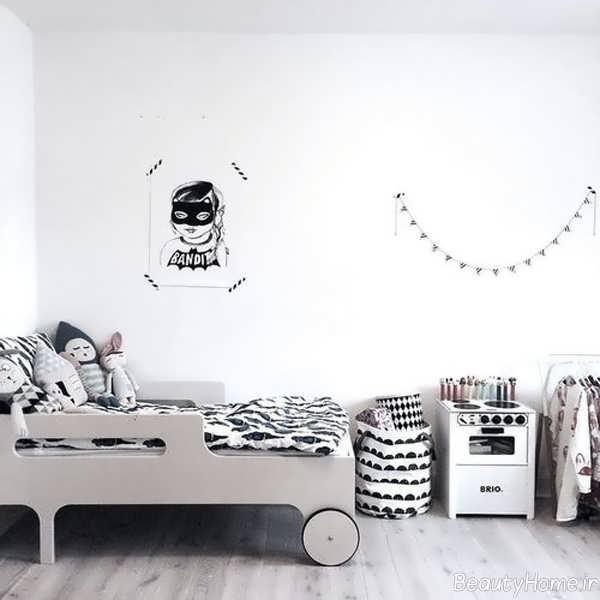 دکوراسیون سفید و شیک اتاق کودک