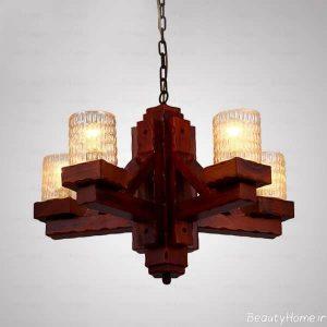 مدل لوستر چوبی مدرن و زیبا