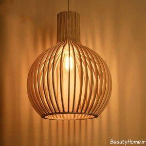 مدل لوستر چوبی اتاق خواب