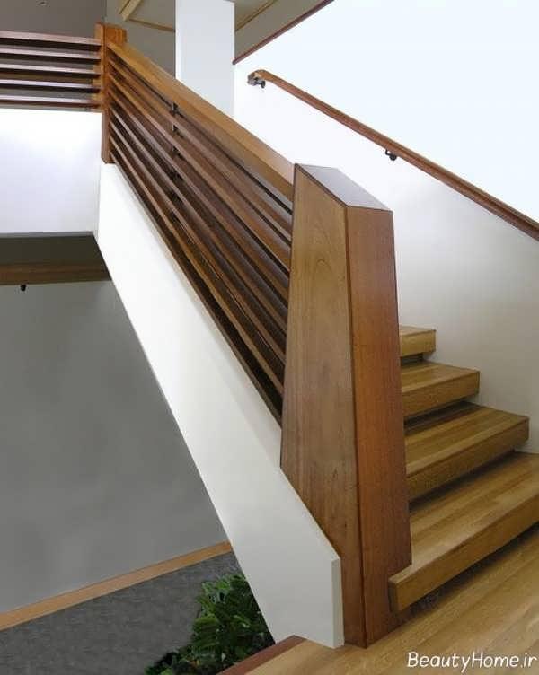 مدل راه پله شیک و نرده چوبی