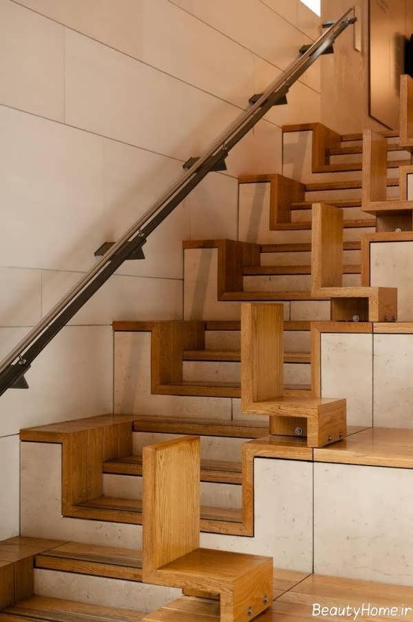 راه پله مدرن چوبی