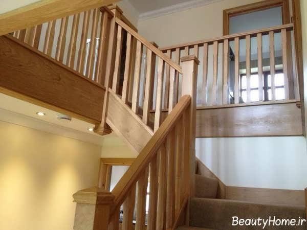 مدل راه پله و نرده چوبی