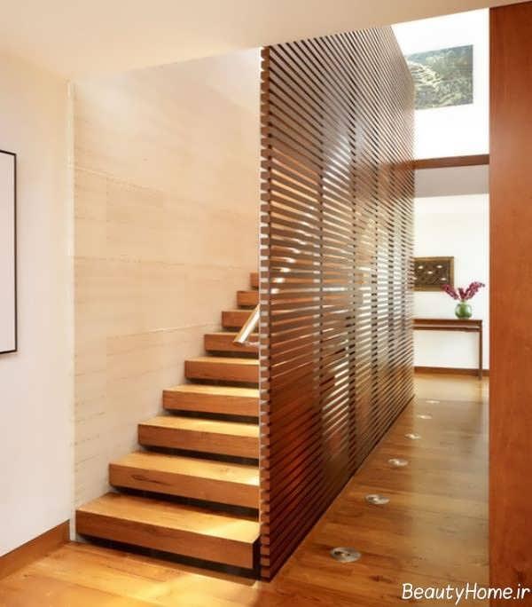 مدل ساده راه پله چوبی
