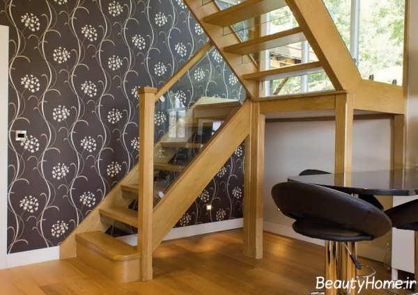 راه پله متفاوت و زیبا چوبی