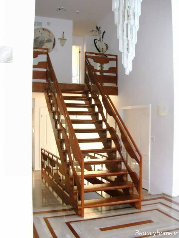 راه پله کلاسیک و شیک چوبی
