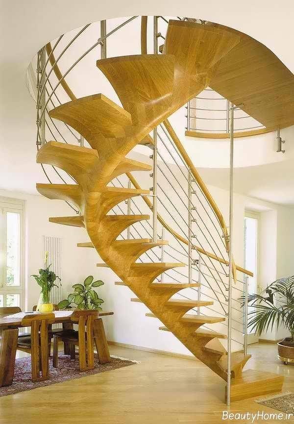 مدل راه پله مدرن و شیک چوبی