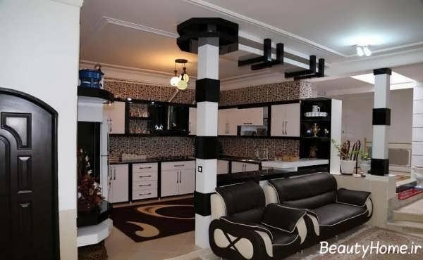 مدل زیبا و شیک کابینت آشپزخانه سیاه و سفید