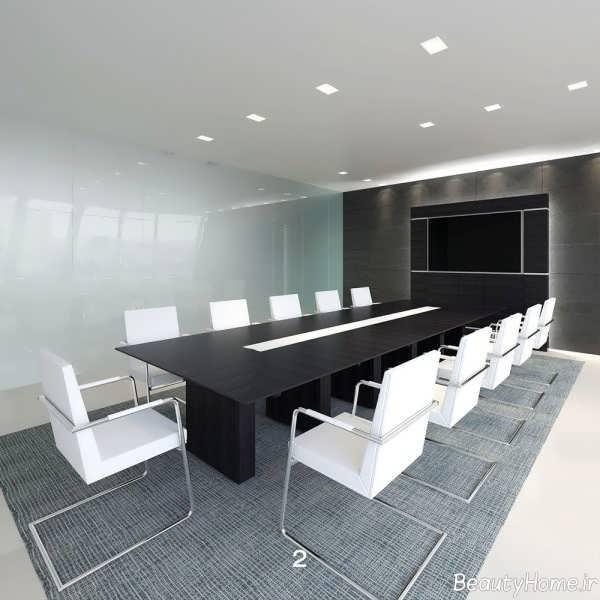 مدل میز و صندلی سیاه و سفید مخصوص کنفرانس
