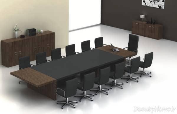مدل میز کنفرانس مشکی و قهوه ای