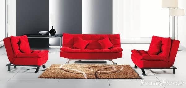 مدل مبلمان مدرن و قرمز