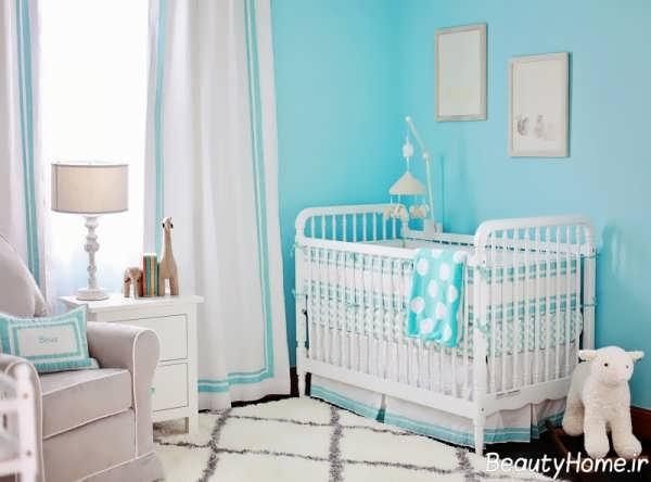 دکوراسیون آبی اتاق نوزاد پسر