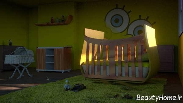 دکوراسیون اتاق نوزاد پسر با تم باب اسفنجی
