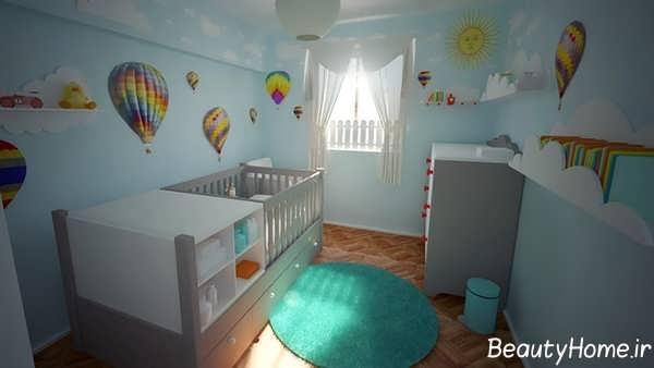 طراحی شیک اتاق خواب نوزاد پسر