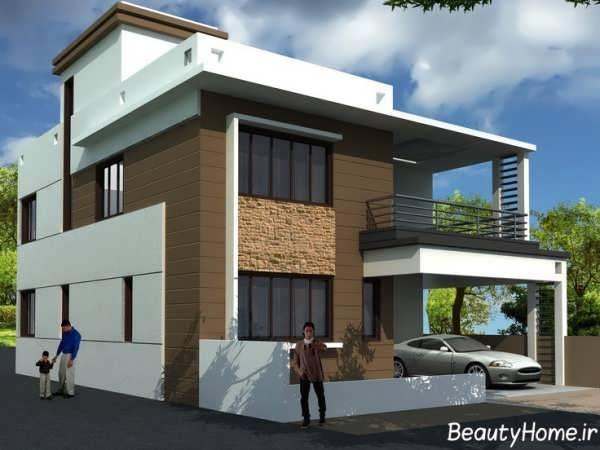 نمای ساختمان مسکونی دو طبقه