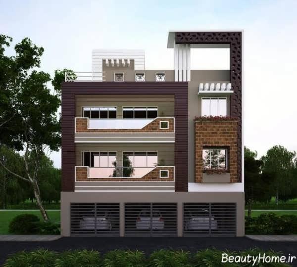 نمای آجری ساختمان دو طبقه