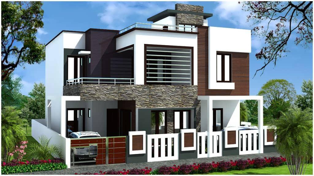 طراحی جدید و مدرن نمای ساختمان دو طبقه