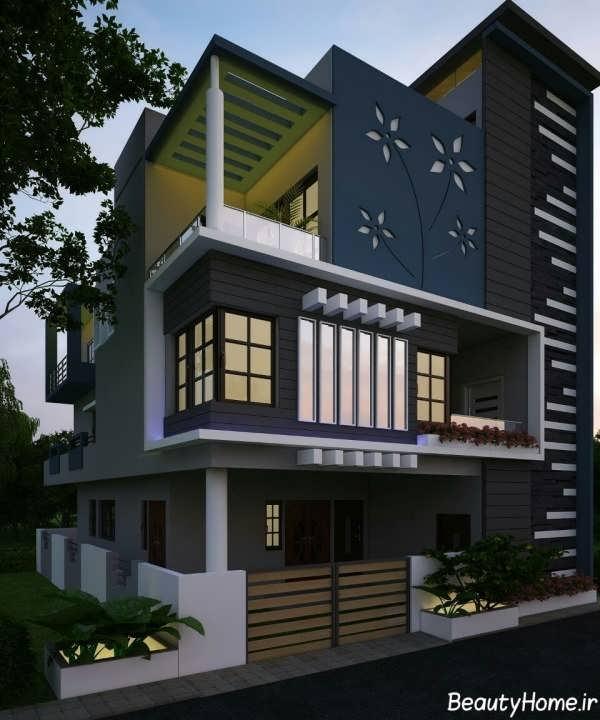 طراحی جدید نمای ساختمان دو طبقه