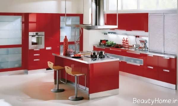 کابینت جزیره آشپزخانه قرمز