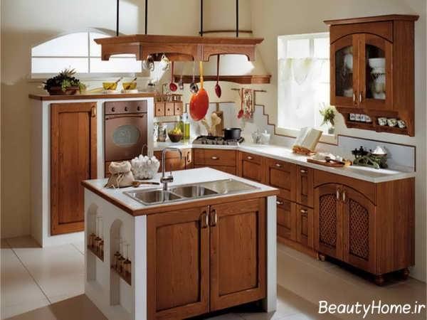 دکوراسیون آشپزخانه طرح جزیره کلاسیک