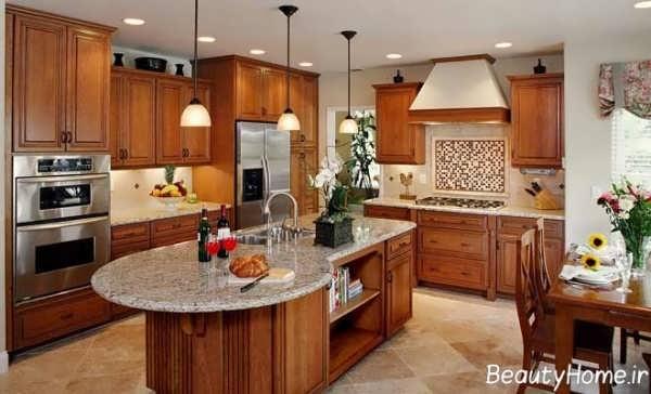 دکوراسیون آشپزخانه مدل جزیره و کلاسیک