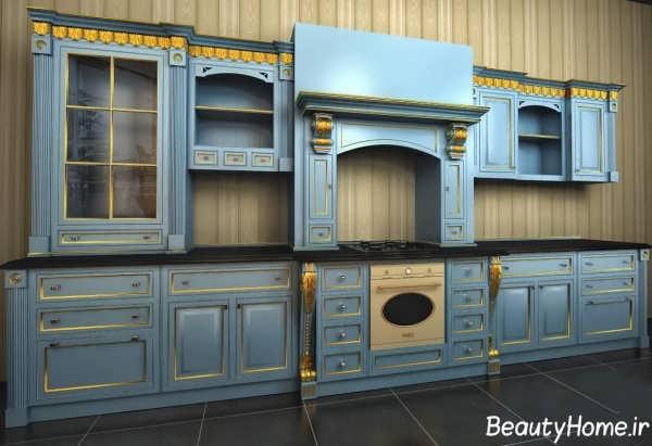 دکوراسیون آبی آشپزخانه کلاسیک