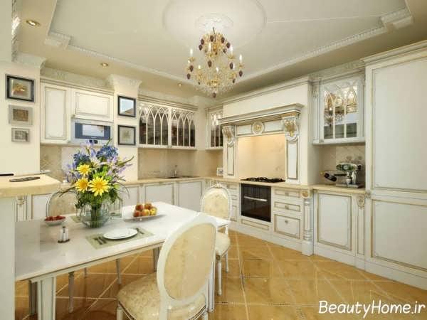 دکوراسیون آشپزخانه لوکس و کلاسیک